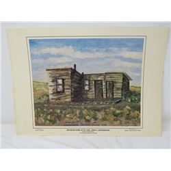 PRINT BOYHOOD HOME RT. HON. JOHN G. DIEFENBAKER' (BY SADIE CENNON) *REPRODUCED BY MCGILL FILM PRODUC