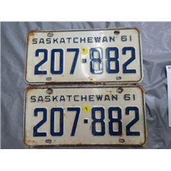 LOT OF 2 LICENSE PLATES (SASK) *1961*