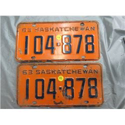 SET OF LICENSE PLATES (SASK) *1963*