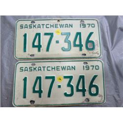 SET OF LICENSE PLATES (SASK) *1970*
