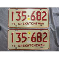 SET OF LICENSE PLATES (SASK) *1975*