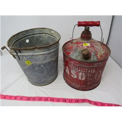 LOT OF 2 (ONE GAL. JERRY CAN, 1 GAL. ICE CREAM PAIL)