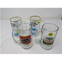 4 BEER STEINS (2 NWT, 1 EA BLACK LABEL, LABATT)