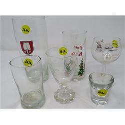 LOT OF 6 ASST GLASSES (NOEL, ETC)