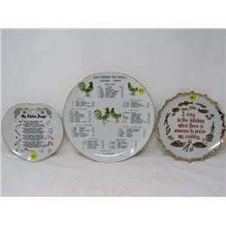 LOT OF 3 PICTURE PLATES (KITCHEN PRAYER, ETC)