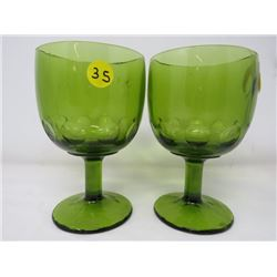 WINE GOBLETS (LARGE GREEN) *QTY 2*