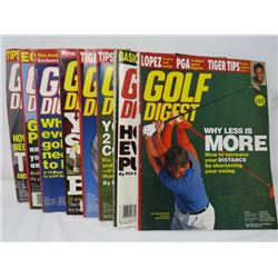 LOT OF 8 GOLF DIGEST MAGAZINES (TIGER WOODS, LOPEZ, MICKELSON, ETC...)