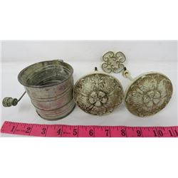 CURTAIN TIEBACKS AND SMALL FLOUR SIFTER