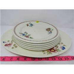 LOT OF 6 (SERVING PLATE, 5 PLATES) *NOT MATCHING*