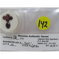 LOT OF 5 GARNETS (RUSTY RED, SEMITRANS, ROUND, OVAL) *CARAT WEIGHT 4.14*