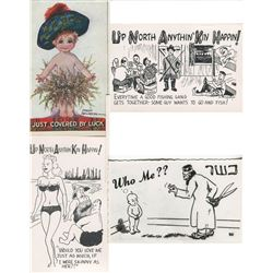 LOT OF 30 ASSORTED NOVELTY POSTCARDS (50'S-60'S HAND DRAWN) *HOSTESS, UP NORTH, WHO ME, ETC..*
