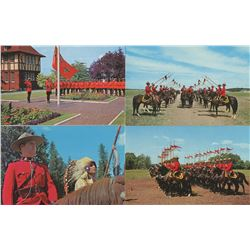 LOT OF 5 ASSORTED POSTCARDS (RCMP) *TROOP INSPECTION, OFFICER AND CHIEF, RAISING THE FLAG, ETC..*
