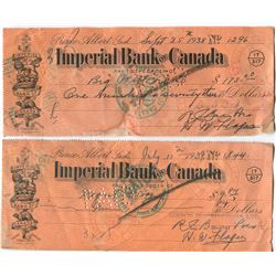 2 IMPERIAL BANK OF CANADA CHEQUES (1938 & 1939)