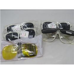 LOT OF 5 ASSORTED SUNGLASSES (SAFETY GLASSES, NIGHT DRIVING, ETC...) *N.O.S* (4 HAVE FLIP UP SHADES)