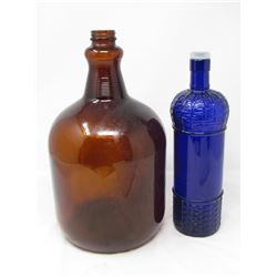 LOT OF 2 GLASS BOTTLES (1 BROWN AND 1 BLUE) *VERY NICE BRILLIANT BLUE COLOR*