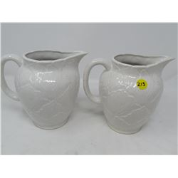 LOT OF 2 CERAMIC WATER PITCHERS (GOOD SHAPE) *NO VISIBLE BRAND*