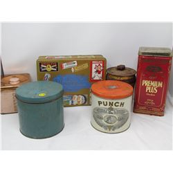 LOT OF 6 ASSORTED TINS (CHRISTIE, PUNCH, WRIGLEY, ETC…)