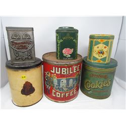 LOT OF 6 ASSORTED TINS (JACKSON, JUBILEE, HOMESTYLE, ETC…)