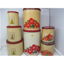 LOT OF 2 KITCHEN TINS SETS (1-3 PIECE AND 1-4 PIECE)