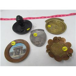 LOT OF 5 ASSORTED CHANGE TRAYS AND ASHTRAY (BRASS, COPPER)