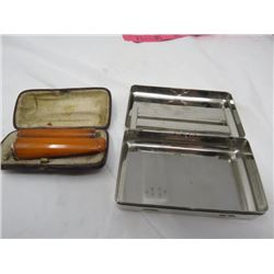 LOT OF 2 SMOKING ACCESSORIES (SILVER PLATED CIGARETTE TIN, CIGARETTE EXTENDER/FILTERS)