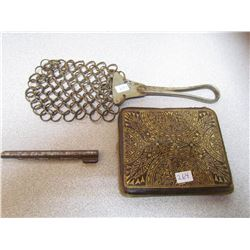 LOT OF MISC ITEMS (CHAIN LINK MEAT TENDERIZER, WALLET, PAPER CLIP)