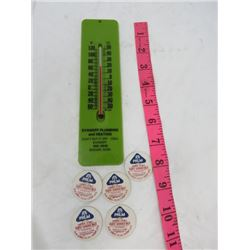 EVANOFF PLUMBING AND HEATING THERMOMETER AND ASST PAPER MILK BOTTLE CAPS
