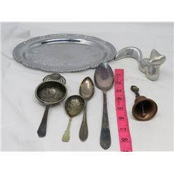 LOT OF SILVER LOOKING ITEMS (CAT FIGURINE, PLATTER, SPOONS, ETC…)