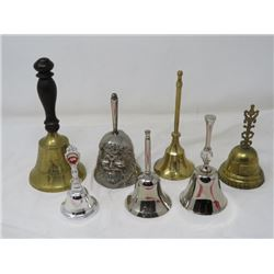 HAND BELLS (QTY 7) *ONE HAS NO RINGER* (3 SILVER PLATED)