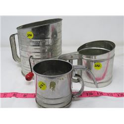 FLOUR SIFTERS (QTY 3) *1 IS BROMWELL'S 5 CUPS*