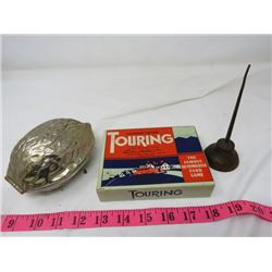 LOT OF ASSORTED - CARD GAME (TOURING) *PARKER BROTHERS*; SMALL OIL CAN, WALNUT CRACKER (SILVER PLATE