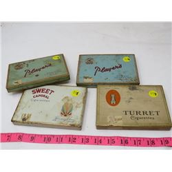 LOT OF 4 CIGARETTE TINS (2 PLAYERS, SWEET CAPORAL & TURRET)