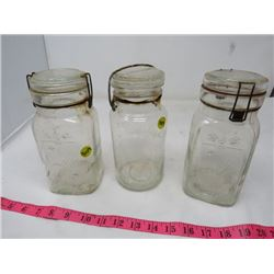 3 SEALERS (PERFECT, 2 QUEEN'S) *WITH GLASS LIDS*