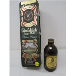 SCOTCH WHISKY TIN (CARRINGTON) W/CHARRINGTON TOBY BEER IN BOTTLE (UNOPENED)