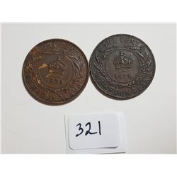 1929 AND 1936 NEWFOUNDLAND ONE CENT COINS TOKEN