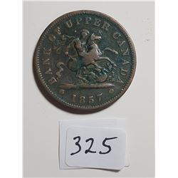 1857 LARGE UPPER CANADA/PROVINCE OF CANADA ONE CENT TOKEN
