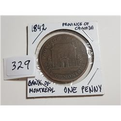 1842 PROVINCE OF CANADA/BANK OF MONTREAL ONE PENNY