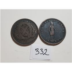 1844 BANK OF MONTREAL ON RIBBON AND 1852 QUEBEC HALF PENNY