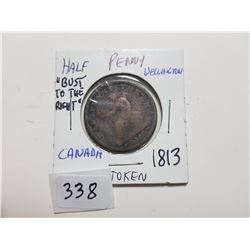 """1813 WELLINGTON HALF PENNY """"BUST TO THE RIGHT"""""""