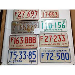 LOT OF 8 VARIOUS LICENSE PLATES (SMALL MOTORCYCLE)