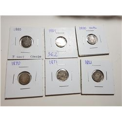 LOT OF 5 FIVE CENT COINS *1880,89,70,71 AND 1900*