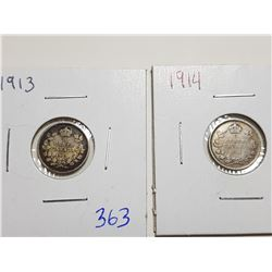 1913, 1914 5 CENT SILVER COINS