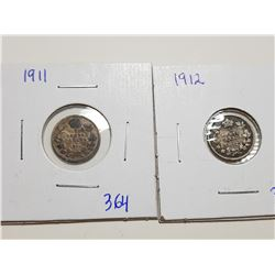 1911, 1912 FIVE CENT SILVER COINS