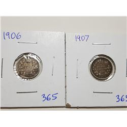 1906, 1907, FIVE CENT SILVER COINS