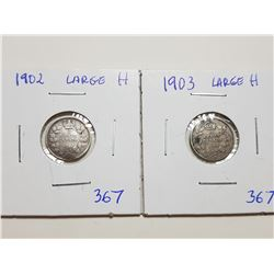 1902H, 1903H, LARGE H FIVE CENT SILVER COINS