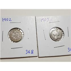 1902, 1903H FIVE CENT SILVER COINS