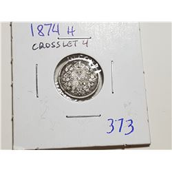 1874H CROSSLET 4 SILVER FIVE CENT COINS