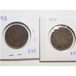 1917 AND 1918 ONE CENT COINS (F+)