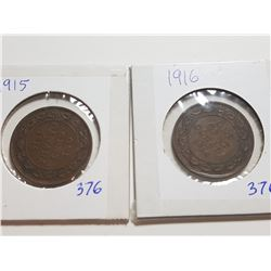 1915 AND 1916 ONE CENT COINS