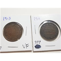 1913 AND 1914 ONE CENT COINS (F)